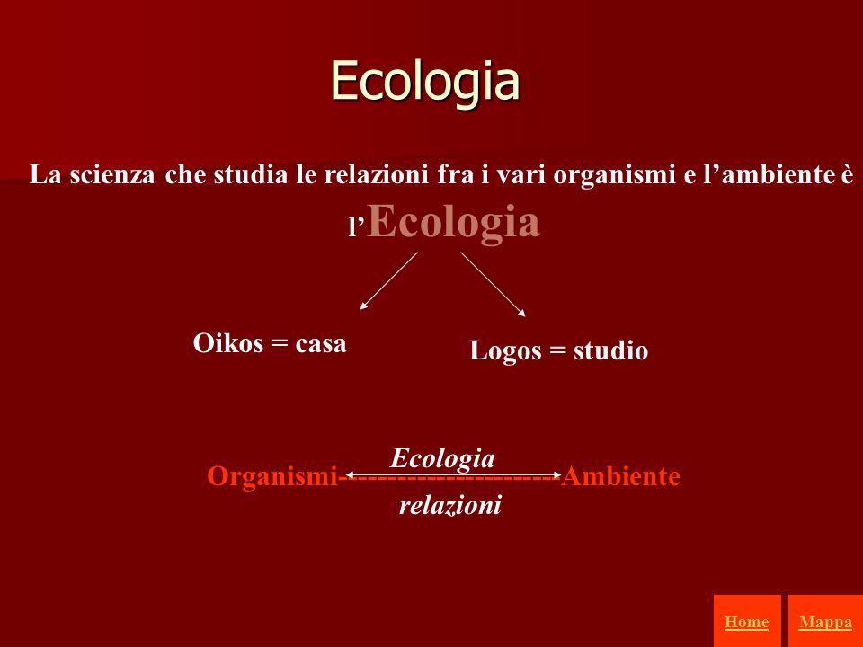 1 La scienza che studia le relazioni fra i vari organismi e lambiente è l Ecologia Oikos = casa Logos = studio Organismi-----------------------Ambiente relazioni Ecologia Ecologia HomeMappa
