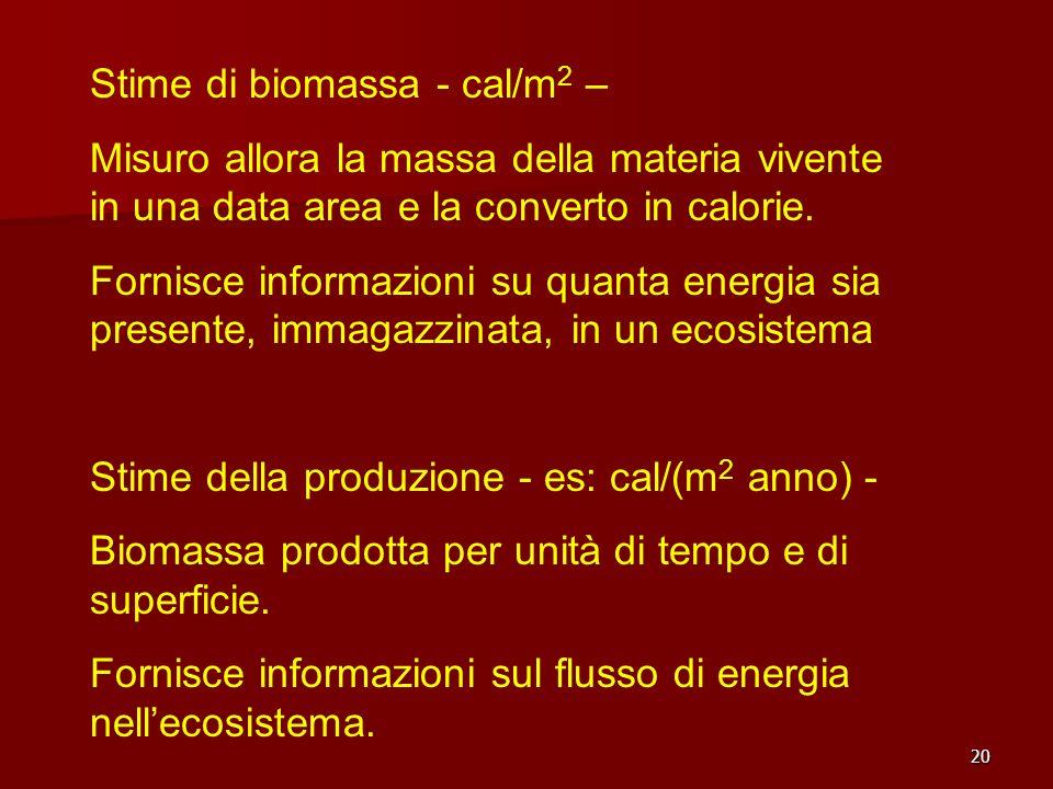 20 Stime di biomassa - cal/m 2 – Misuro allora la massa della materia vivente in una data area e la converto in calorie. Fornisce informazioni su quan