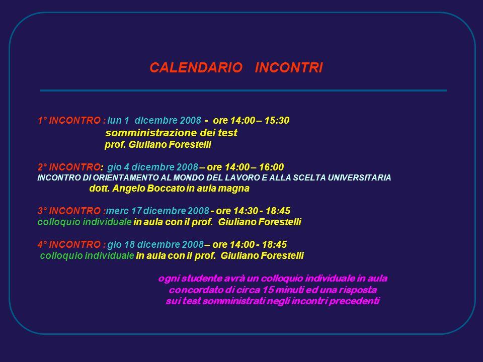CALENDARIO INCONTRI 1° INCONTRO : lun 1 dicembre 2008 - ore 14:00 – 15:30 somministrazione dei test prof.