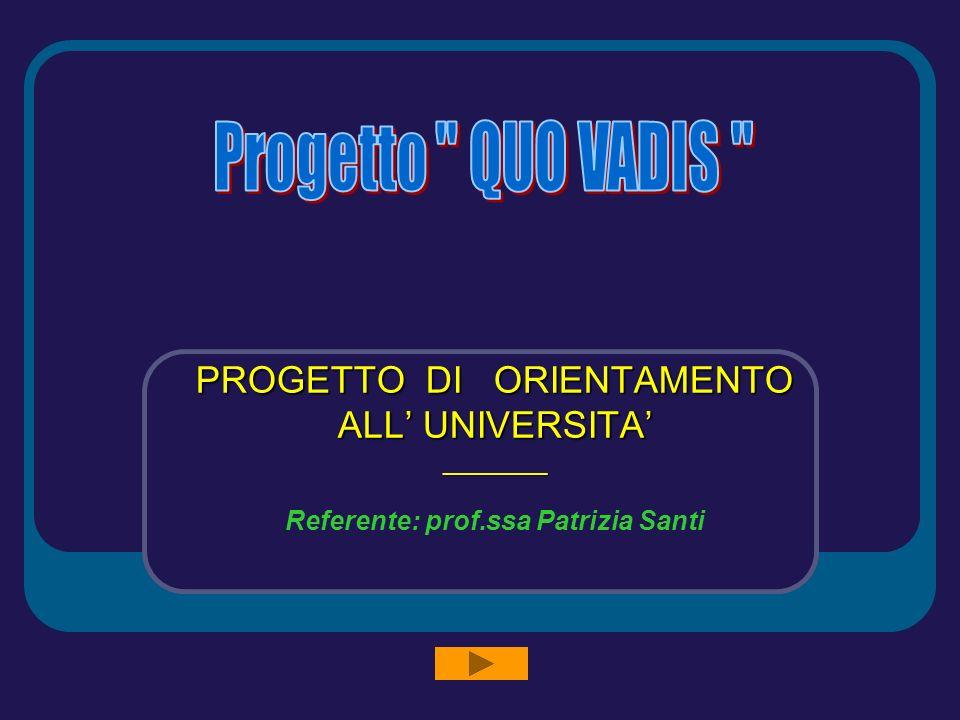 PROGETTO DI ORIENTAMENTO ALL UNIVERSITA ________ Referente: prof.ssa Patrizia Santi