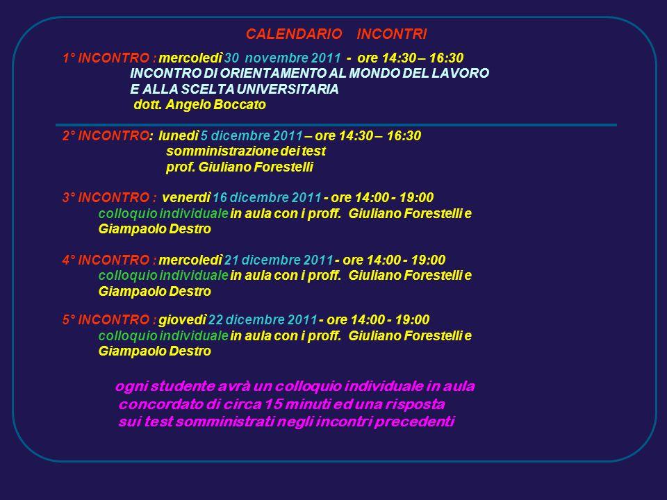 CALENDARIO INCONTRI 1° INCONTRO : mercoledì 30 novembre 2011 - ore 14:30 – 16:30 INCONTRO DI ORIENTAMENTO AL MONDO DEL LAVORO E ALLA SCELTA UNIVERSITARIA dott.