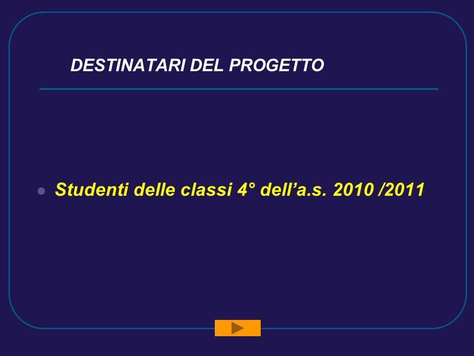 DESTINATARI DEL PROGETTO Studenti delle classi 4° della.s. 2010 /2011