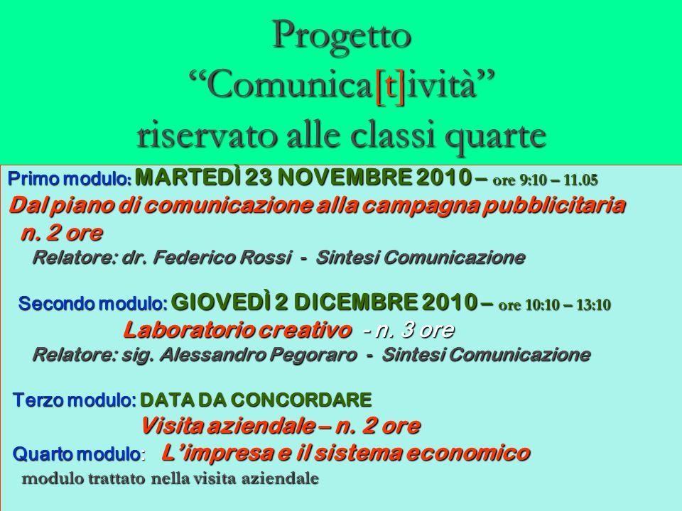 Progetto Comunica[t]ività riservato alle classi quarte Primo modulo : MARTEDÌ 23 NOVEMBRE 2010 – ore 9:10 – 11.05 Dal piano di comunicazione alla camp