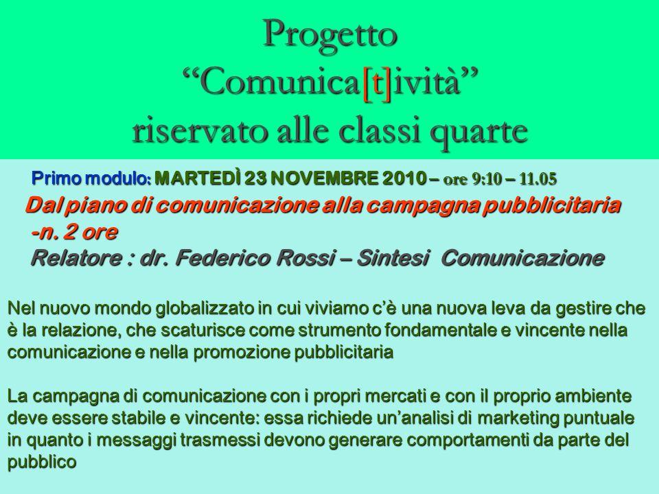 Progetto Comunica[t]ività riservato alle classi quarte Primo modulo : MARTEDÌ 23 NOVEMBRE 2010 – ore 9:10 – 11.05 Primo modulo : MARTEDÌ 23 NOVEMBRE 2