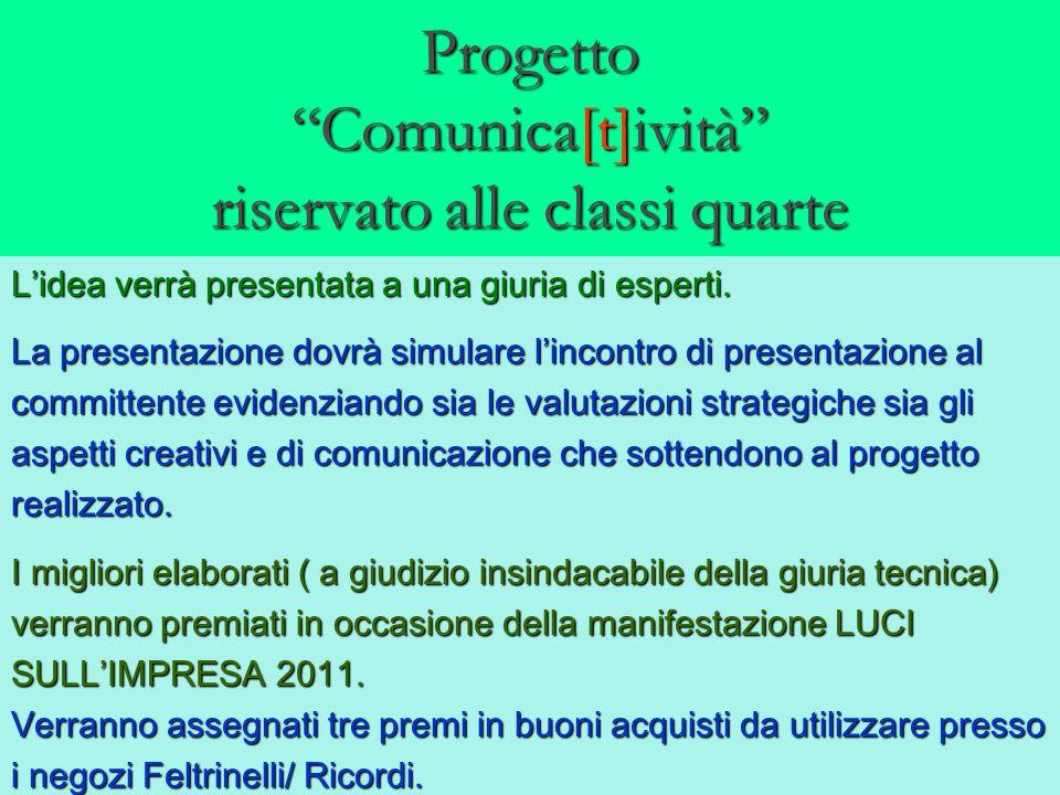 Progetto Comunica[t]ività riservato alle classi quarte Lidea verrà presentata a una giuria di esperti.