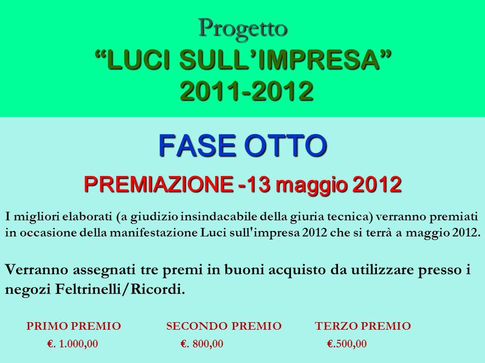 Progetto LUCI SULLIMPRESA 2011-2012 FASE OTTO PREMIAZIONE -13 maggio 2012 I migliori elaborati (a giudizio insindacabile della giuria tecnica) verrann