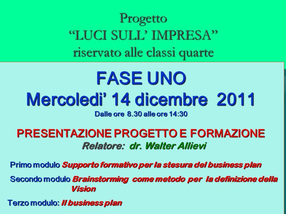 Progetto LUCI SULL IMPRESA riservato alle classi quarte FASE UNO Mercoledi 14 dicembre 2011 Dalle ore 8.30 alle ore 14:30 PRESENTAZIONE PROGETTO E FOR