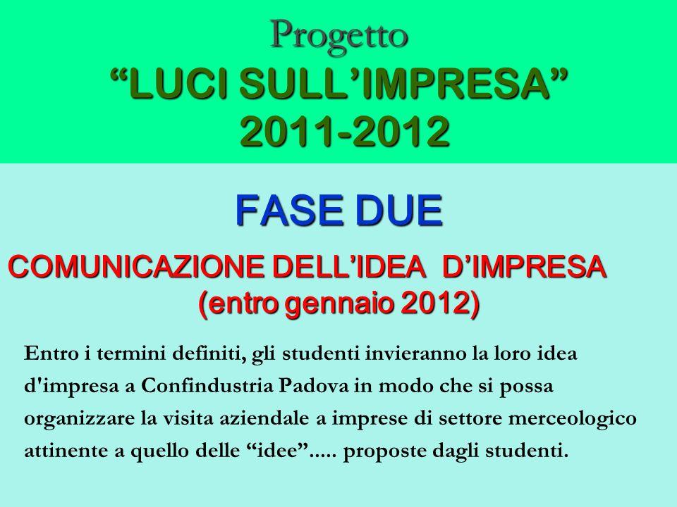 Progetto LUCI SULLIMPRESA 2011-2012 FASE DUE COMUNICAZIONE DELLIDEA DIMPRESA (entro gennaio 2012) Entro i termini definiti, gli studenti invieranno la
