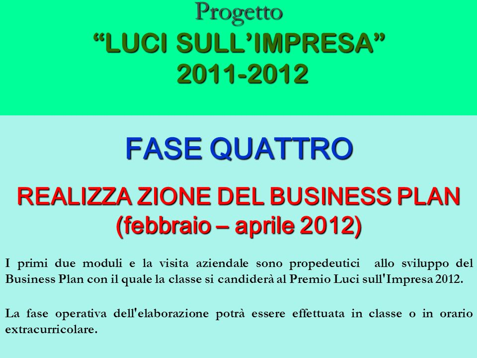 Progetto LUCI SULLIMPRESA 2011-2012 FASE QUATTRO REALIZZA ZIONE DEL BUSINESS PLAN (febbraio – aprile 2012) I primi due moduli e la visita aziendale so