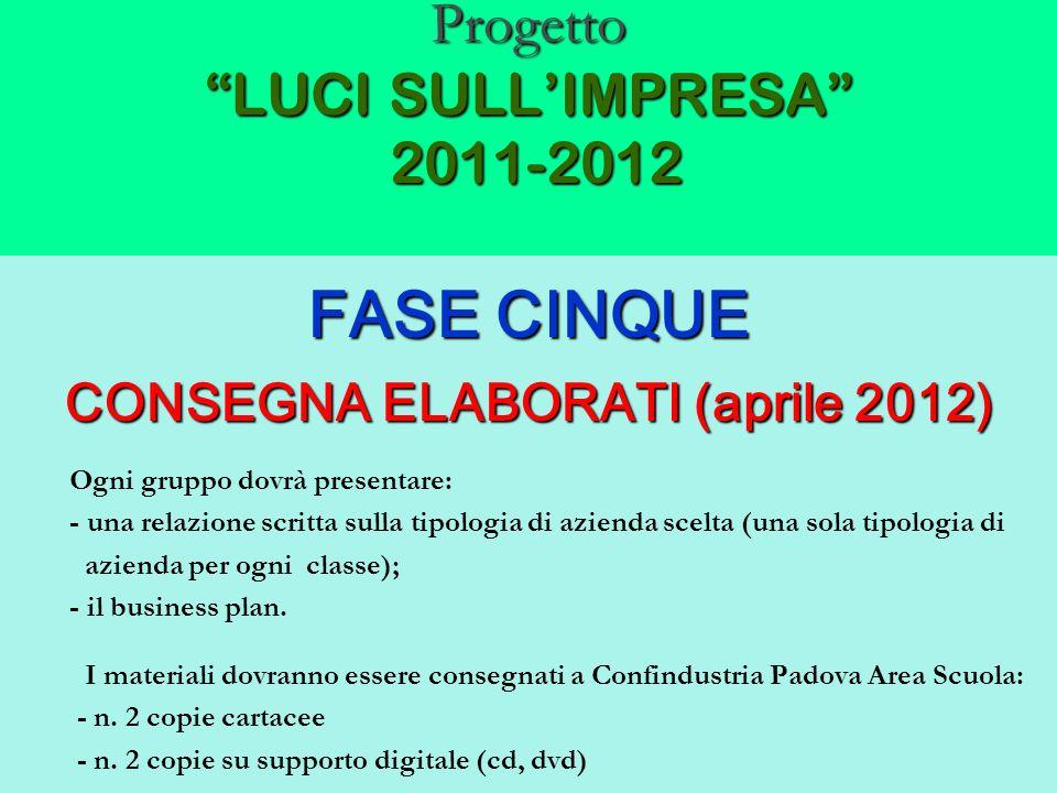 Progetto LUCI SULLIMPRESA 2011-2012 FASE CINQUE CONSEGNA ELABORATI (aprile 2012) Ogni gruppo dovrà presentare: - una relazione scritta sulla tipologia
