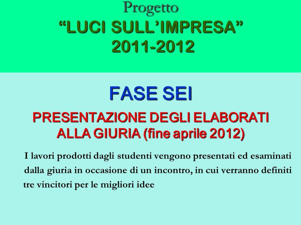 Progetto LUCI SULLIMPRESA 2011-2012 FASE SEI PRESENTAZIONE DEGLI ELABORATI ALLA GIURIA (fine aprile 2012) I lavori prodotti dagli studenti vengono pre