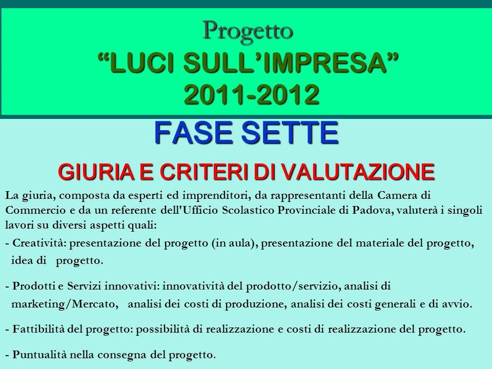 Progetto LUCI SULLIMPRESA 2011-2012 FASE SETTE GIURIA E CRITERI DI VALUTAZIONE La giuria, composta da esperti ed imprenditori, da rappresentanti della