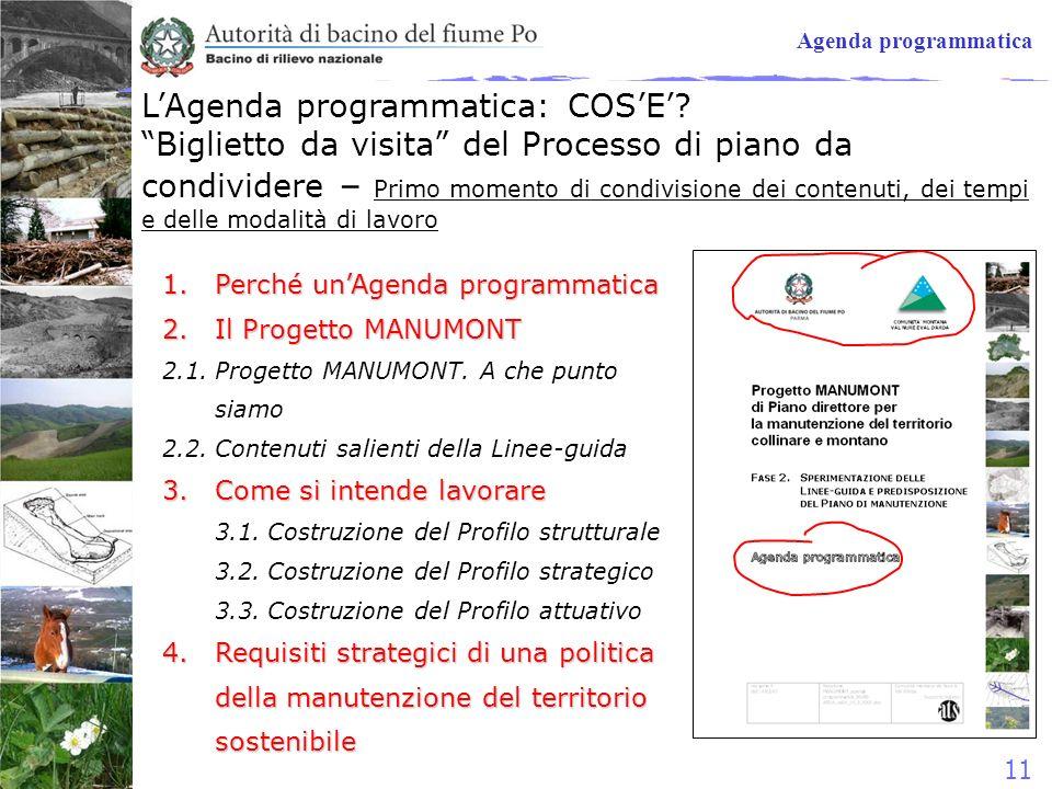 11 Agenda programmatica 1.Perché unAgenda programmatica 2.Il Progetto MANUMONT 2.1.Progetto MANUMONT. A che punto siamo 2.2.Contenuti salienti della L