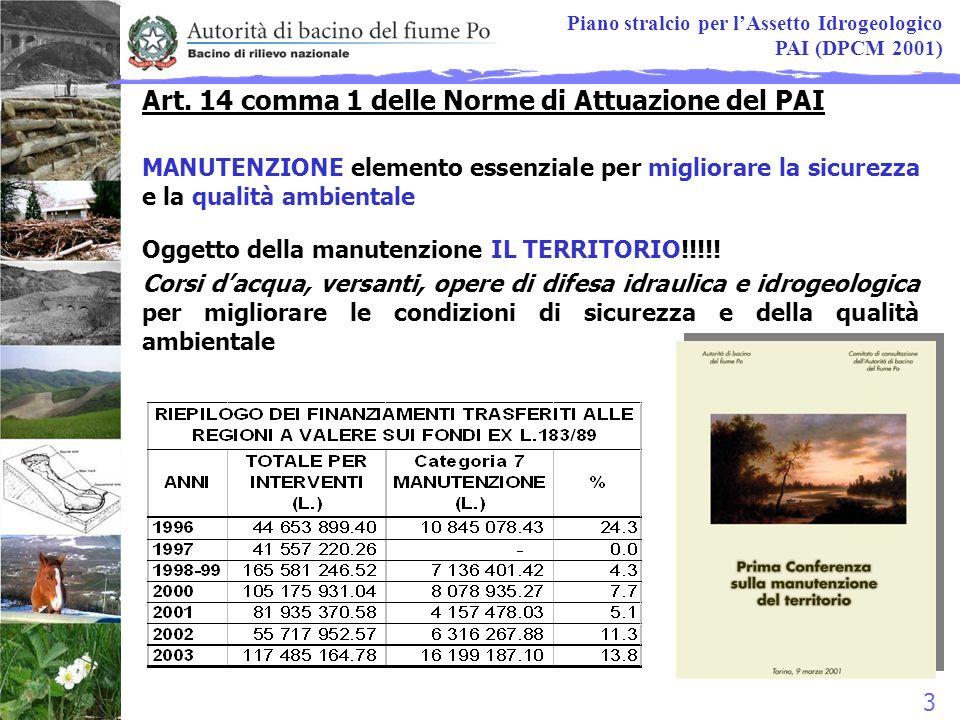 14 Progetto MANUMONT Progetto di Piano direttore per la manutenzione del territorio collinare e montano Fase 2.