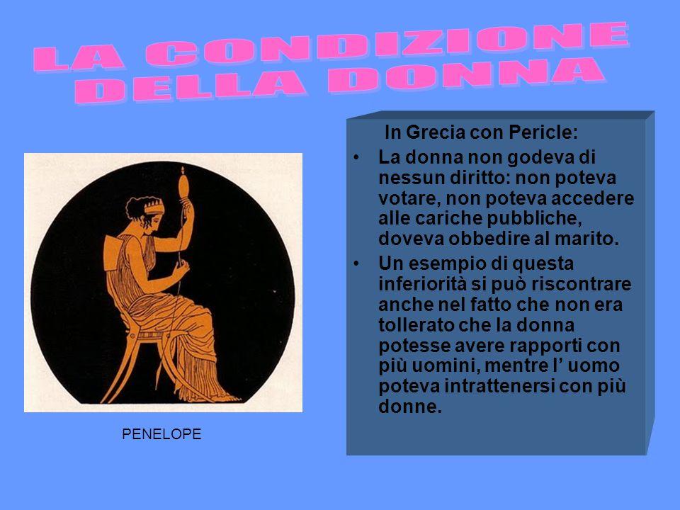 In Grecia con Pericle: La donna non godeva di nessun diritto: non poteva votare, non poteva accedere alle cariche pubbliche, doveva obbedire al marito