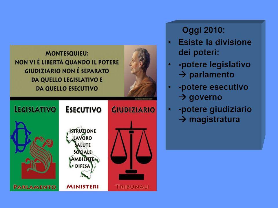 Oggi 2010: Esiste la divisione dei poteri: -potere legislativo parlamento -potere esecutivo governo -potere giudiziario magistratura