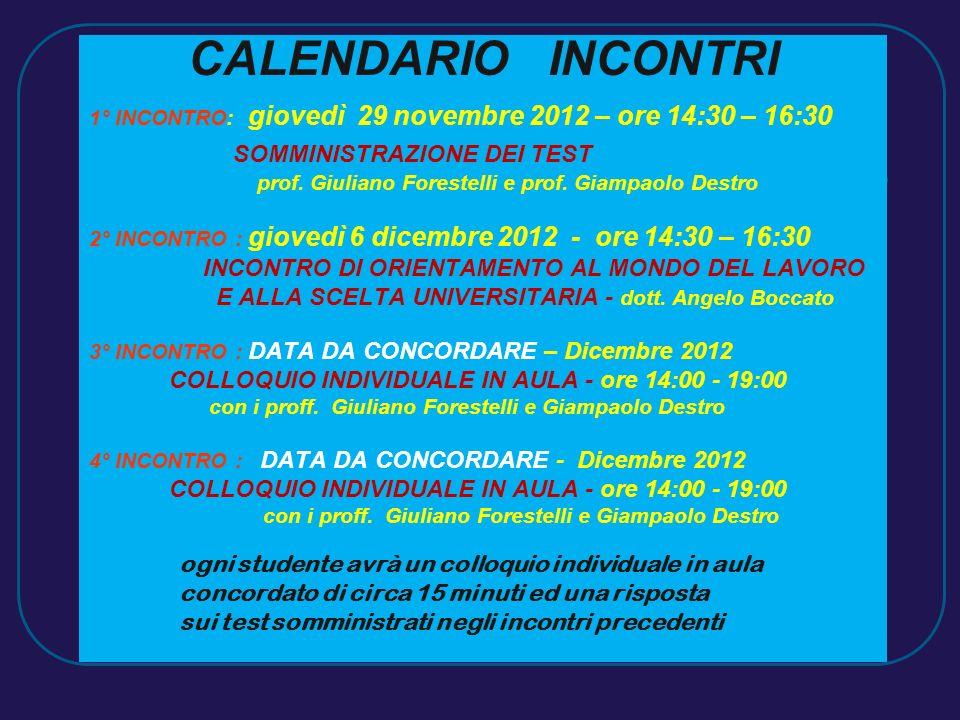 CALENDARIO INCONTRI 1° INCONTRO: giovedì 29 novembre 2012 – ore 14:30 – 16:30 SOMMINISTRAZIONE DEI TEST prof. Giuliano Forestelli e prof. Giampaolo De
