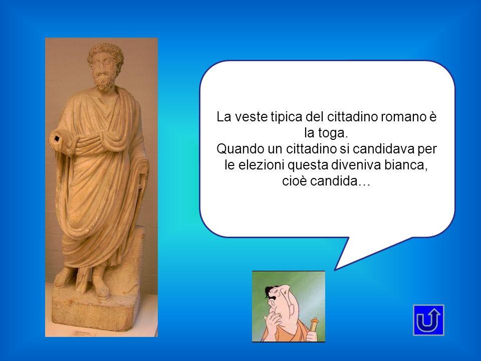 La veste tipica del cittadino romano è la toga. Quando un cittadino si candidava per le elezioni questa diveniva bianca, cioè candida…