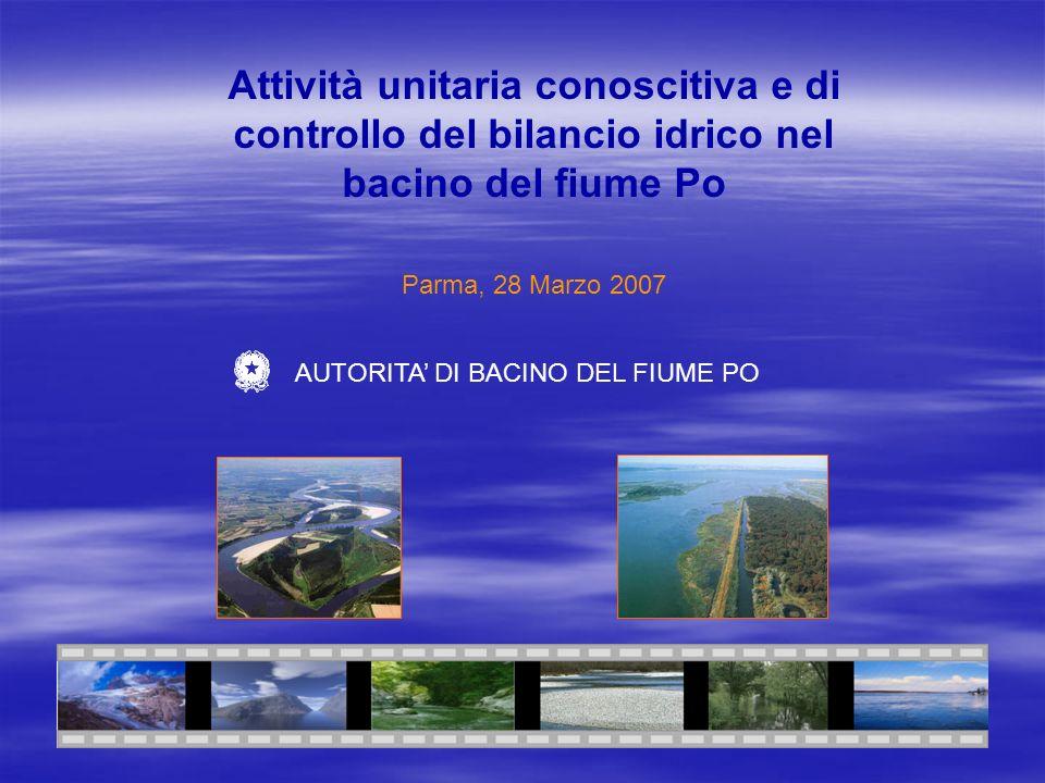 Attività unitaria conoscitiva e di controllo del bilancio idrico nel bacino del fiume Po Parma, 28 Marzo 2007 AUTORITA DI BACINO DEL FIUME PO