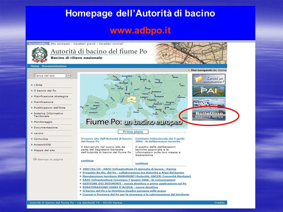 Homepage dellAutorità di bacino www.adbpo.it