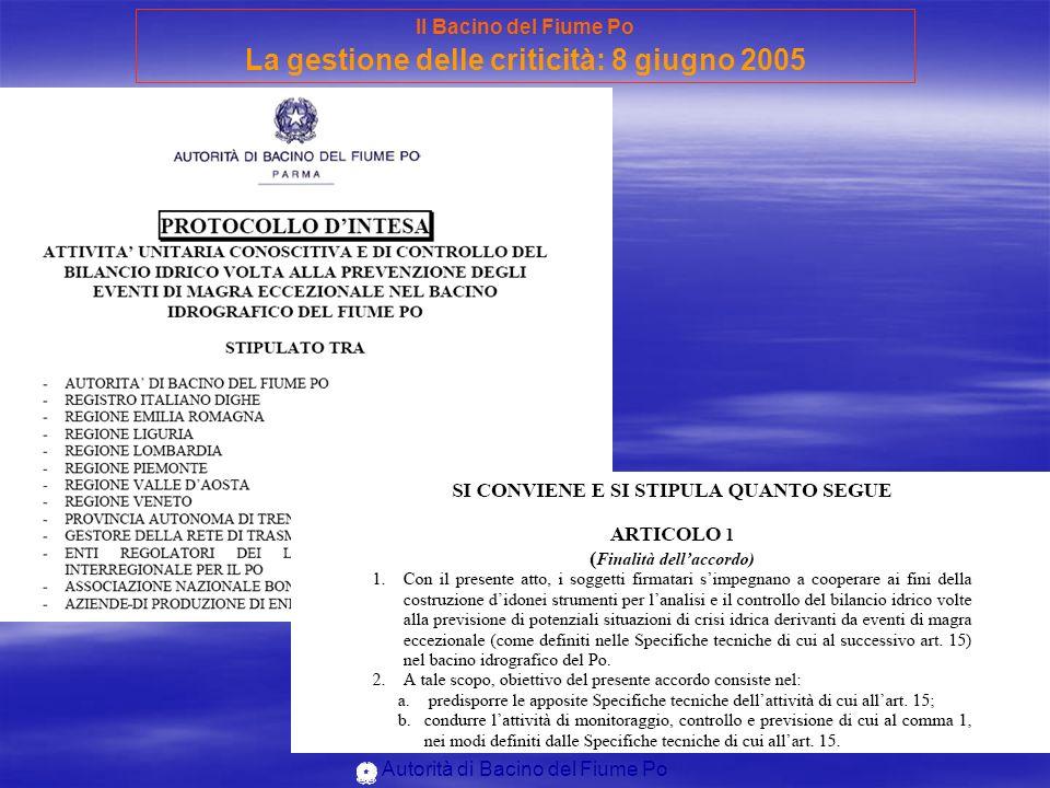 Autorità di Bacino del Fiume Po Il Bacino del Fiume Po La gestione delle criticità: 8 giugno 2005