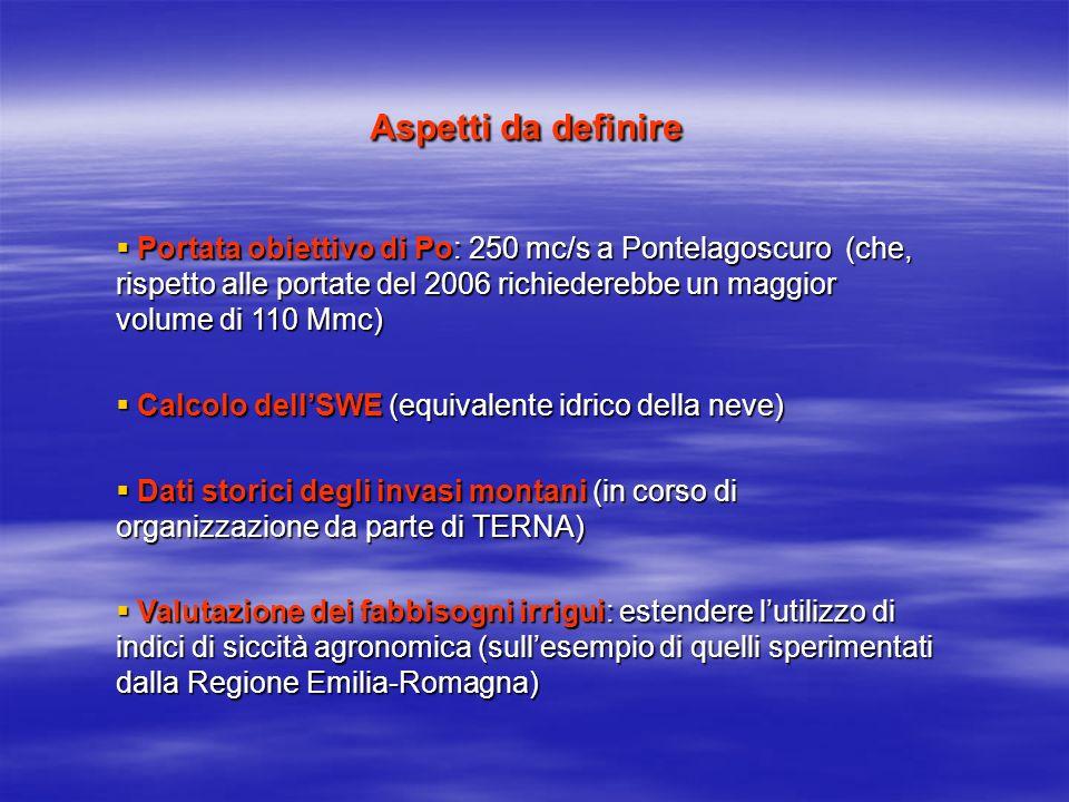 Aspetti da definire Portata obiettivo di Po: 250 mc/s a Pontelagoscuro (che, rispetto alle portate del 2006 richiederebbe un maggior volume di 110 Mmc) Portata obiettivo di Po: 250 mc/s a Pontelagoscuro (che, rispetto alle portate del 2006 richiederebbe un maggior volume di 110 Mmc) Calcolo dellSWE (equivalente idrico della neve) Calcolo dellSWE (equivalente idrico della neve) Dati storici degli invasi montani (in corso di organizzazione da parte di TERNA) Dati storici degli invasi montani (in corso di organizzazione da parte di TERNA) Valutazione dei fabbisogni irrigui: estendere lutilizzo di indici di siccità agronomica (sullesempio di quelli sperimentati dalla Regione Emilia-Romagna) Valutazione dei fabbisogni irrigui: estendere lutilizzo di indici di siccità agronomica (sullesempio di quelli sperimentati dalla Regione Emilia-Romagna)