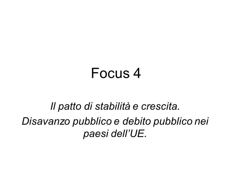 Focus 4 Il patto di stabilità e crescita. Disavanzo pubblico e debito pubblico nei paesi dellUE.