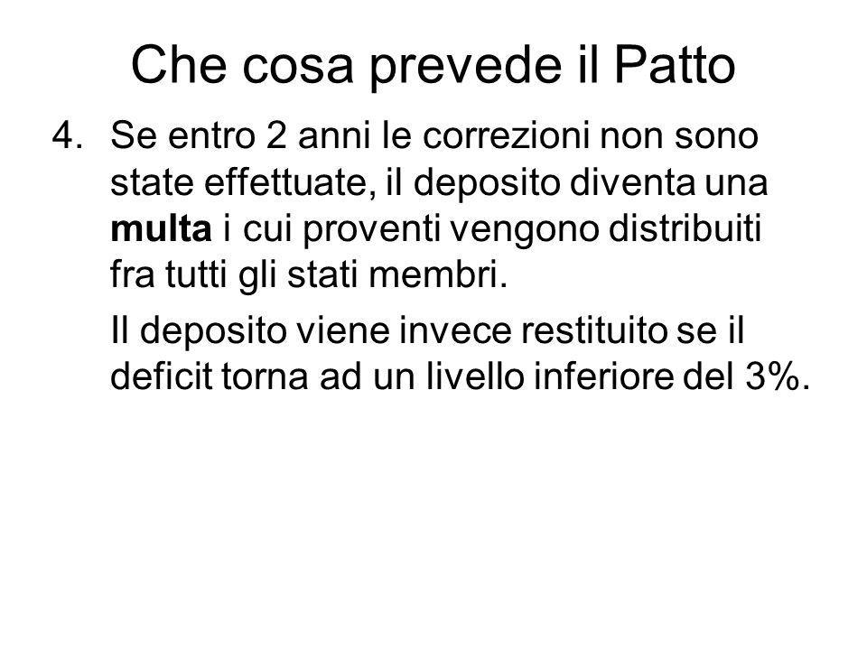 Che cosa prevede il Patto 4.Se entro 2 anni le correzioni non sono state effettuate, il deposito diventa una multa i cui proventi vengono distribuiti fra tutti gli stati membri.