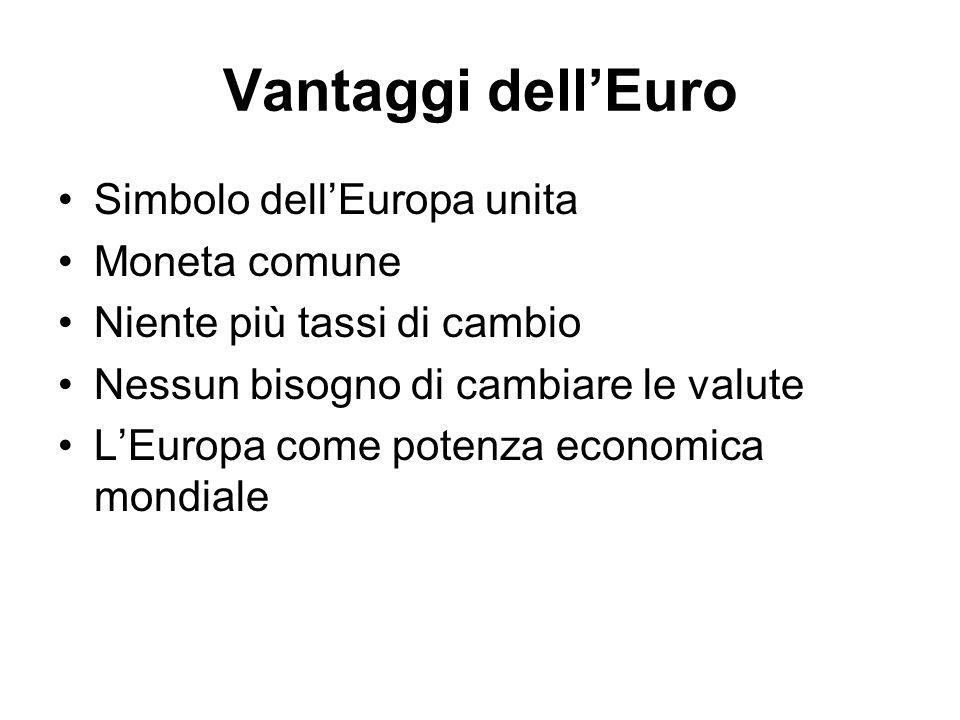 Svantaggi dellEuro Una politica monetaria comune non può correggere differenziali di tassi di crescita, di inflazione e di disoccupazione tra i paesi.