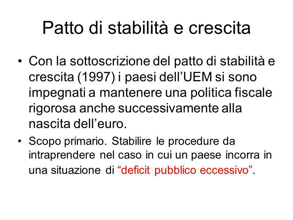 Patto di stabilità e crescita Con la sottoscrizione del patto di stabilità e crescita (1997) i paesi dellUEM si sono impegnati a mantenere una politica fiscale rigorosa anche successivamente alla nascita delleuro.