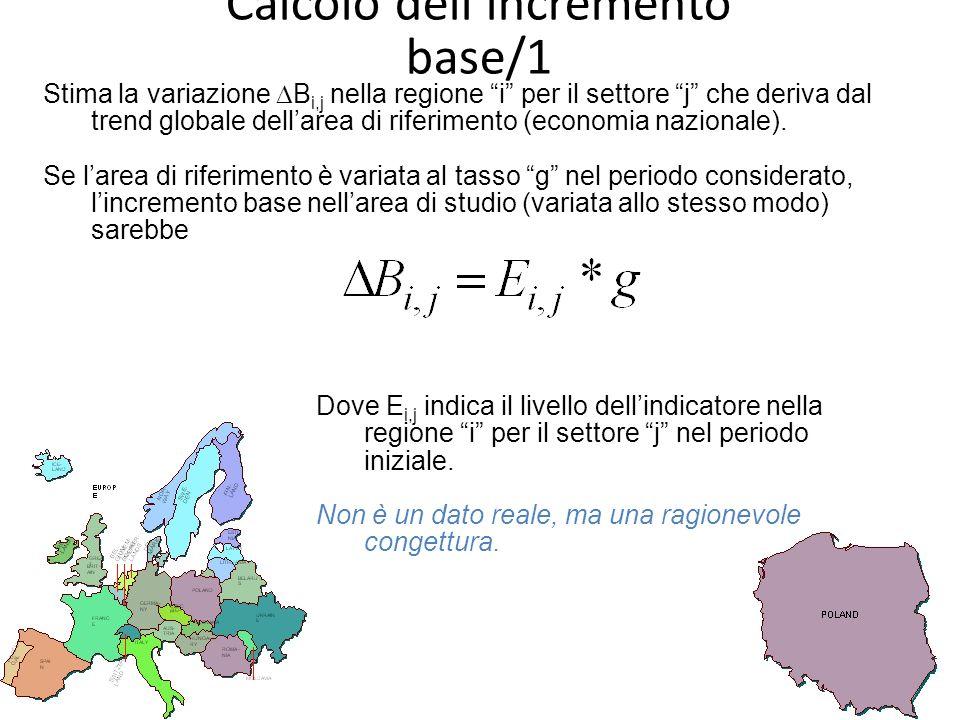 Calcolo dellincremento base/1 Stima la variazione B i,j nella regione i per il settore j che deriva dal trend globale dellarea di riferimento (economia nazionale).