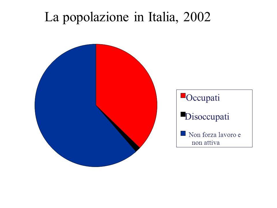 La popolazione in Italia, 2002 Occupati Disoccupati Non forza lavoro e non attiva