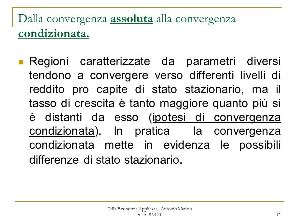Cdls Economia Applicata Antonio Marino matr. 96493 11 Dalla convergenza assoluta alla convergenza condizionata. Regioni caratterizzate da parametri di