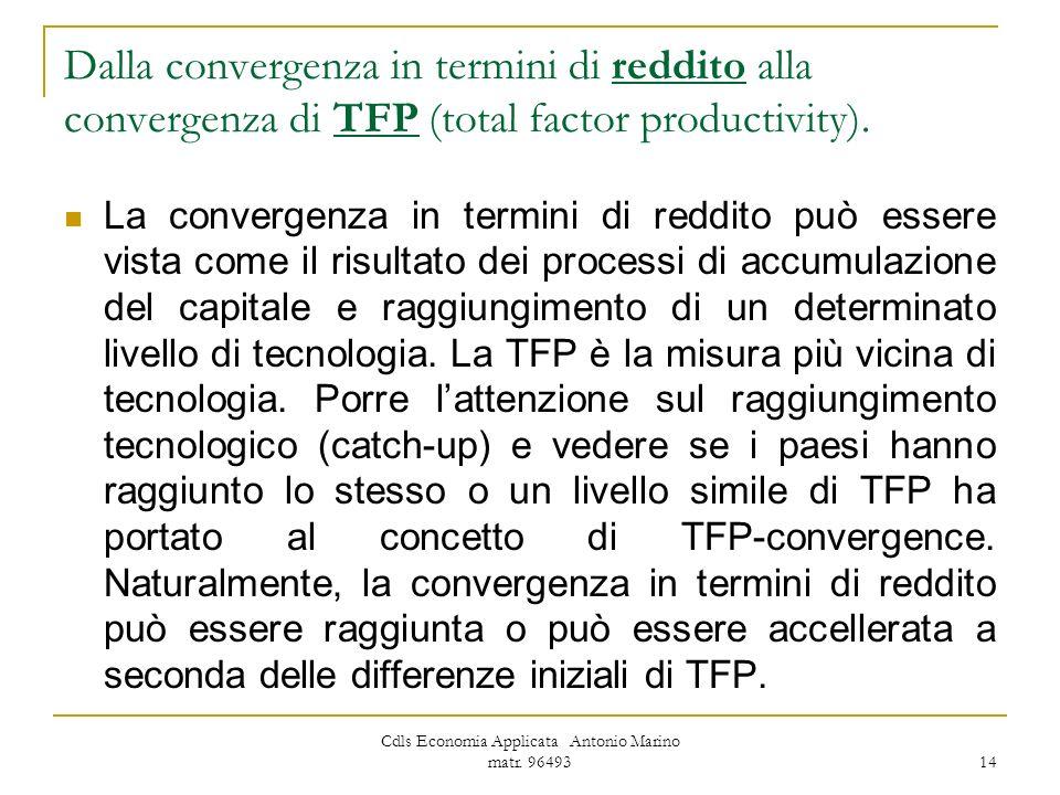Cdls Economia Applicata Antonio Marino matr. 96493 14 Dalla convergenza in termini di reddito alla convergenza di TFP (total factor productivity). La