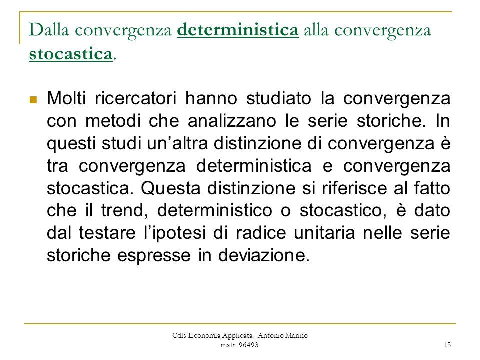 Cdls Economia Applicata Antonio Marino matr. 96493 15 Dalla convergenza deterministica alla convergenza stocastica. Molti ricercatori hanno studiato l