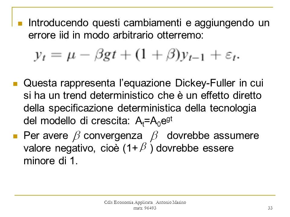 Cdls Economia Applicata Antonio Marino matr. 96493 33 Introducendo questi cambiamenti e aggiungendo un errore iid in modo arbitrario otterremo: Questa