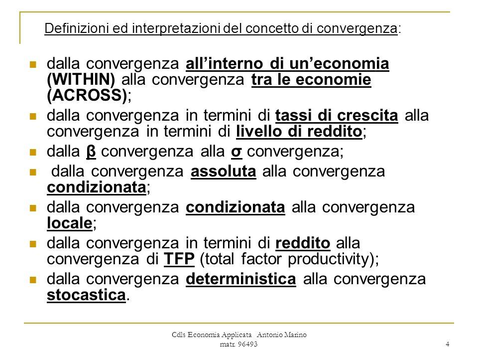 Cdls Economia Applicata Antonio Marino matr. 96493 4 Definizioni ed interpretazioni del concetto di convergenza: dalla convergenza allinterno di uneco