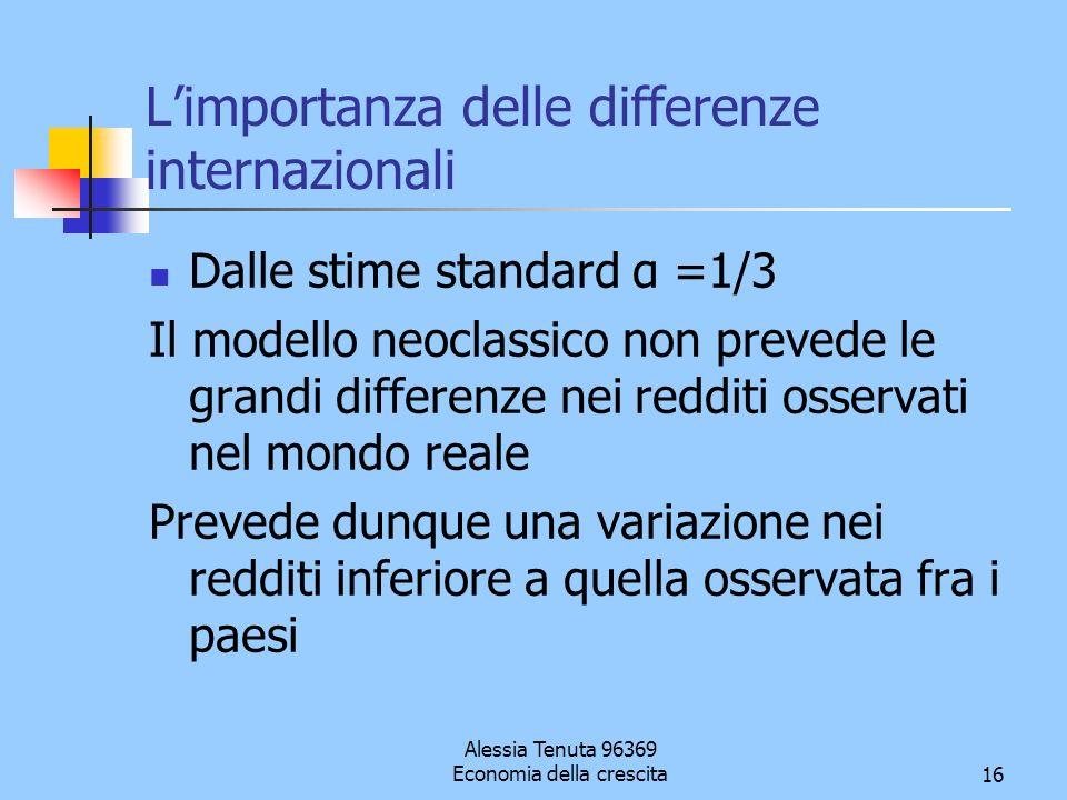Alessia Tenuta 96369 Economia della crescita16 Limportanza delle differenze internazionali Dalle stime standard α =1/3 Il modello neoclassico non prev