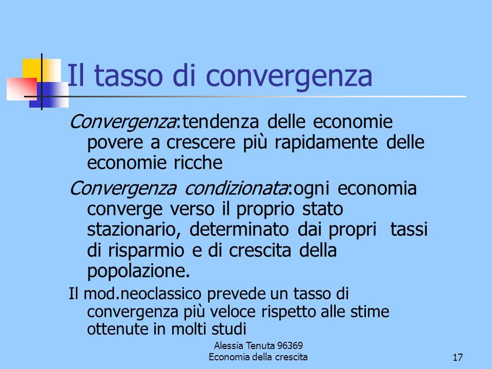 Alessia Tenuta 96369 Economia della crescita17 Il tasso di convergenza Convergenza:tendenza delle economie povere a crescere più rapidamente delle eco