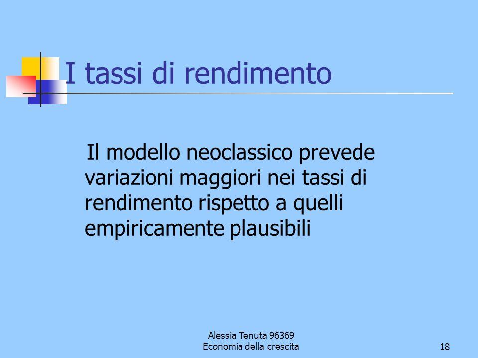 Alessia Tenuta 96369 Economia della crescita18 I tassi di rendimento Il modello neoclassico prevede variazioni maggiori nei tassi di rendimento rispet
