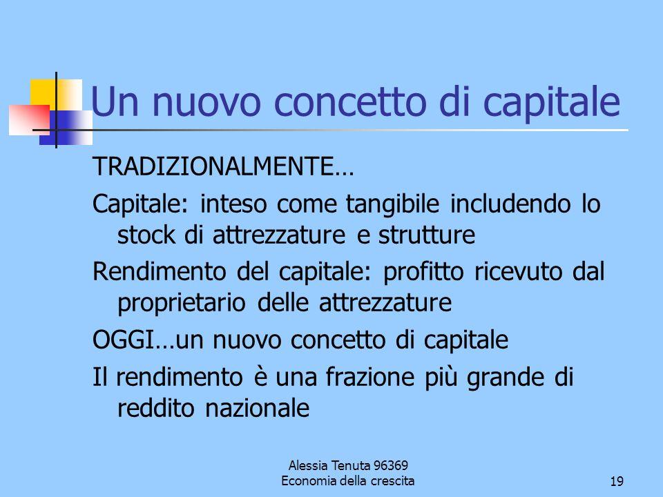 Alessia Tenuta 96369 Economia della crescita19 Un nuovo concetto di capitale TRADIZIONALMENTE… Capitale: inteso come tangibile includendo lo stock di
