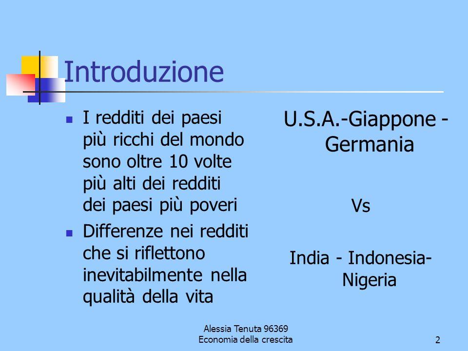 Alessia Tenuta 96369 Economia della crescita2 Introduzione I redditi dei paesi più ricchi del mondo sono oltre 10 volte più alti dei redditi dei paesi