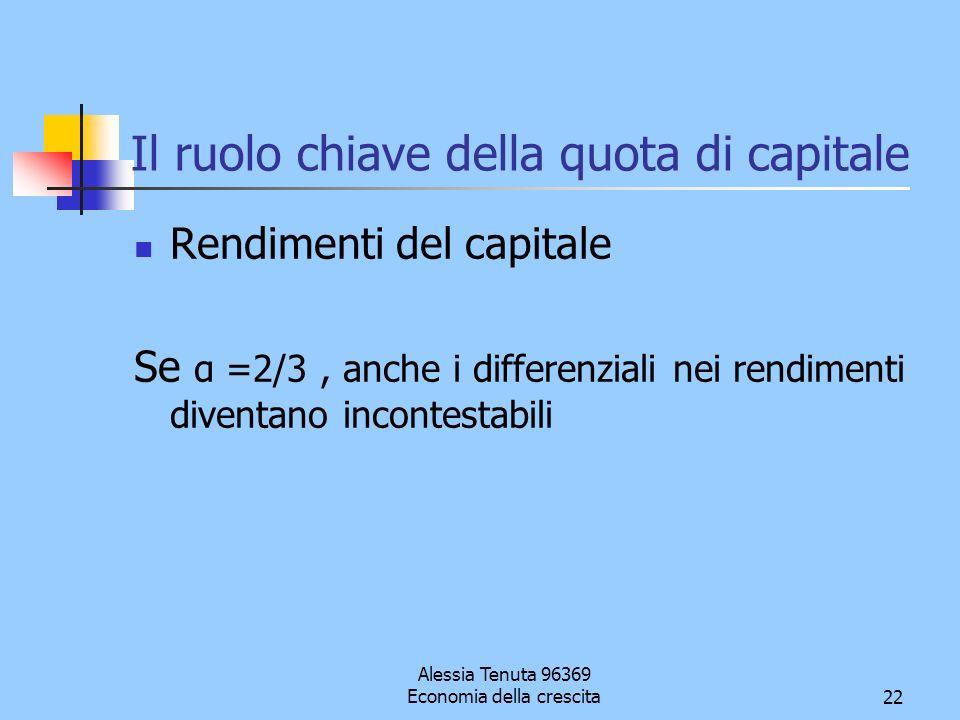 Alessia Tenuta 96369 Economia della crescita22 Il ruolo chiave della quota di capitale Rendimenti del capitale Se α =2/3, anche i differenziali nei re