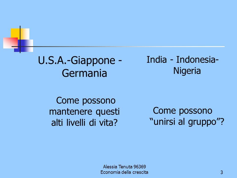 Alessia Tenuta 96369 Economia della crescita3 U.S.A.-Giappone - Germania Come possono mantenere questi alti livelli di vita? India - Indonesia- Nigeri