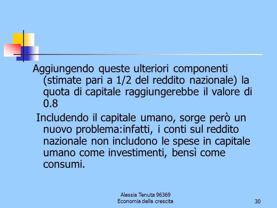 Alessia Tenuta 96369 Economia della crescita30 Aggiungendo queste ulteriori componenti (stimate pari a 1/2 del reddito nazionale) la quota di capitale