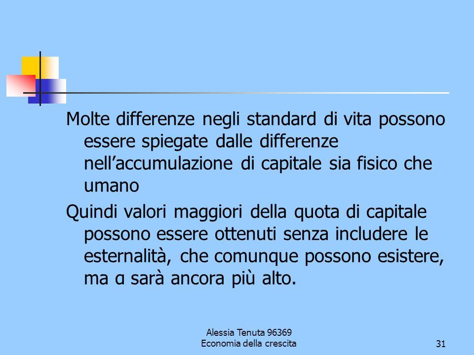 Alessia Tenuta 96369 Economia della crescita31 Molte differenze negli standard di vita possono essere spiegate dalle differenze nellaccumulazione di c