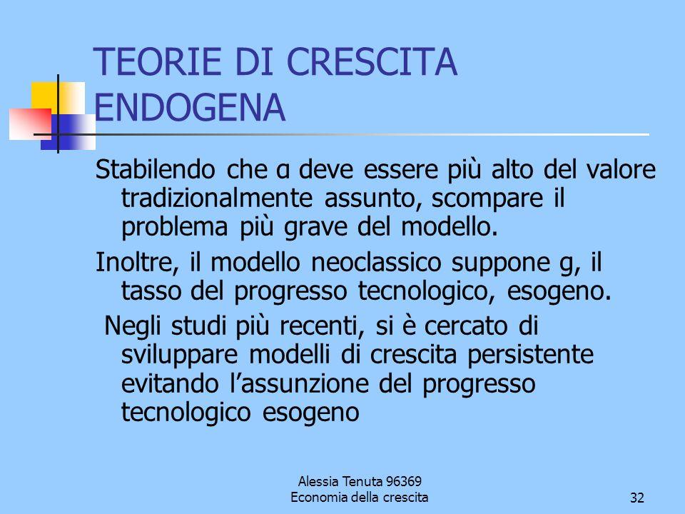 Alessia Tenuta 96369 Economia della crescita32 TEORIE DI CRESCITA ENDOGENA Stabilendo che α deve essere più alto del valore tradizionalmente assunto,