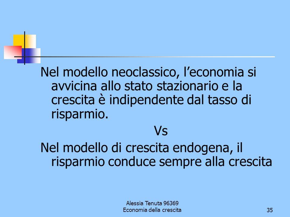 Alessia Tenuta 96369 Economia della crescita35 Nel modello neoclassico, leconomia si avvicina allo stato stazionario e la crescita è indipendente dal