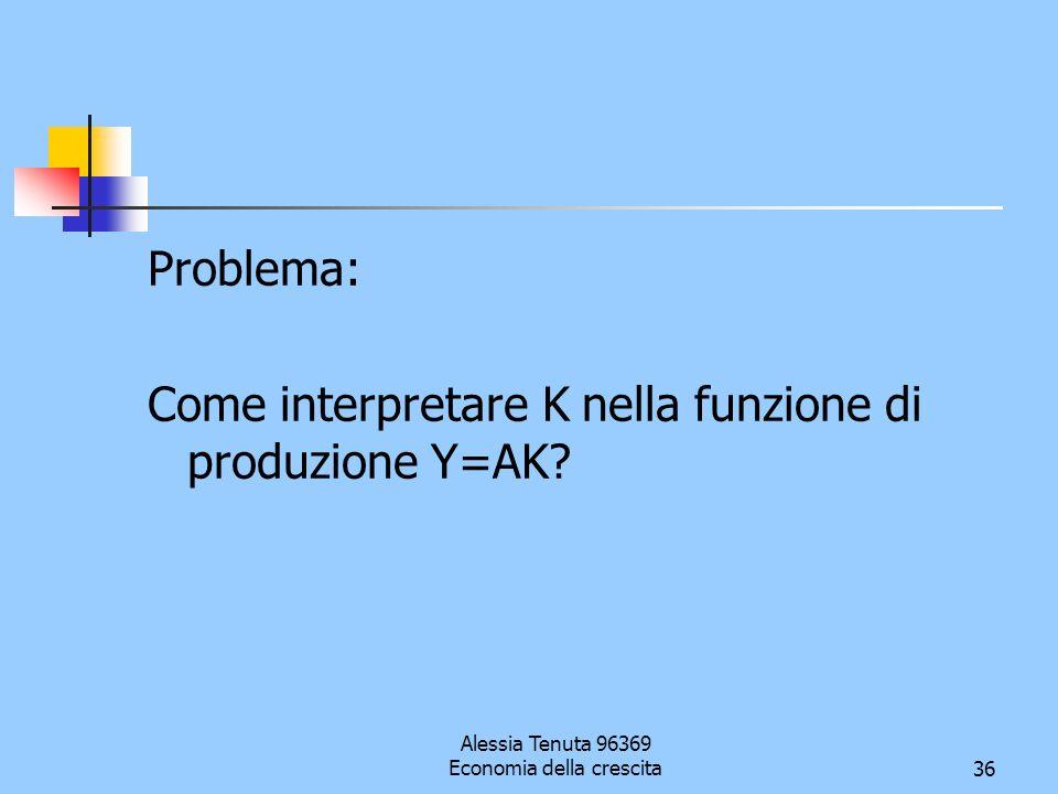 Alessia Tenuta 96369 Economia della crescita36 Problema: Come interpretare K nella funzione di produzione Y=AK?
