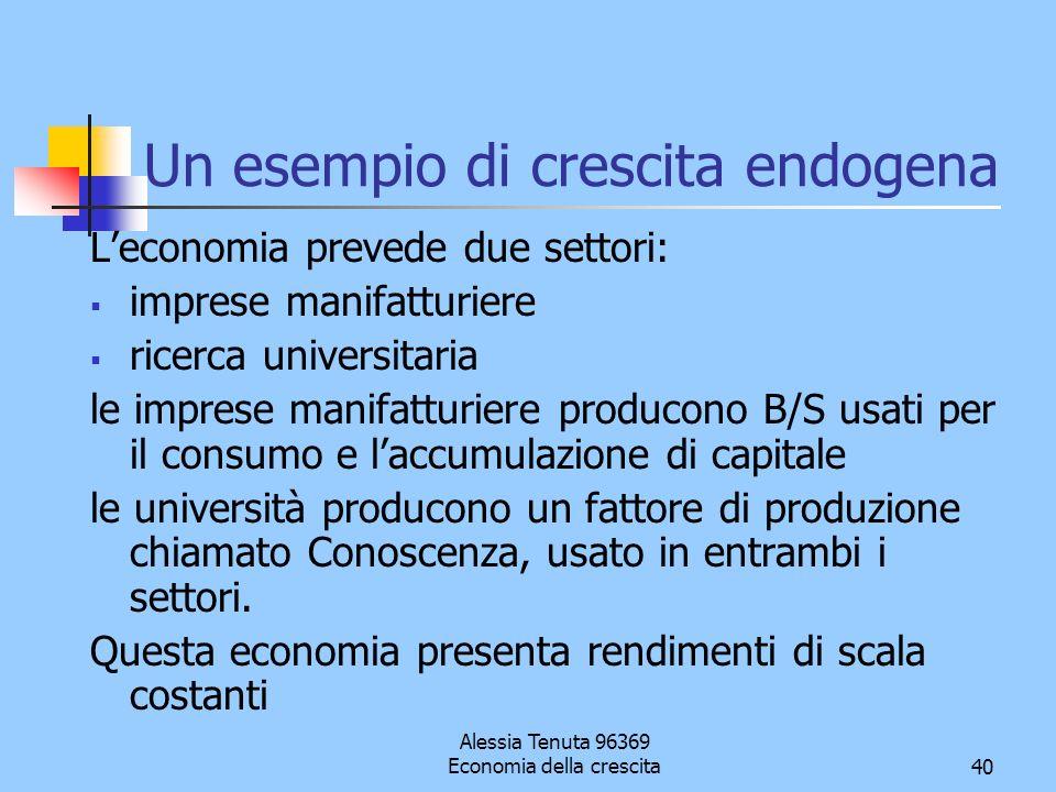 Alessia Tenuta 96369 Economia della crescita40 Un esempio di crescita endogena Leconomia prevede due settori: imprese manifatturiere ricerca universit